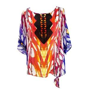 Rafaella Multi-Color Print Blouse Size XLP